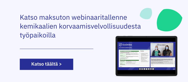 Maksuton webinaaritallenne: kemikaalien korvaamisvelvollisuus