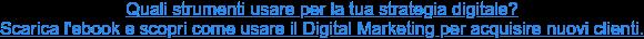 Quali strumenti usare per la tua strategia digitale?  Scarica l'ebook e scopri come usare il Digital Marketing per acquisire nuovi  clienti.