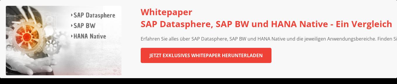 SAP BW, HANA Native und SAP Data Warehouse Cloud - Ein Vergleich Erfahren Sie alles über SAP BW, HANA Native und SAP Data Warehouse Cloud und  ihre jeweiligen Anwendungsbereiche und finden Sie das richtige Produkt für Ihre  Data Warehouse Strategie.  Whitepaper herunterladen