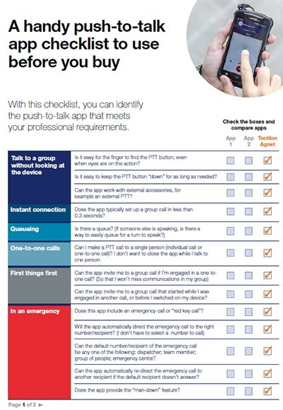Cover page: A handy push-to-talk app checklist to use before you buy
