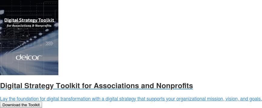 Digital Strategy Toolkit for Associations and Nonprofits  Lay the foundation for digital transformation with a digital strategy that  supports your organizational mission, vision, and goals. Download the Toolkit