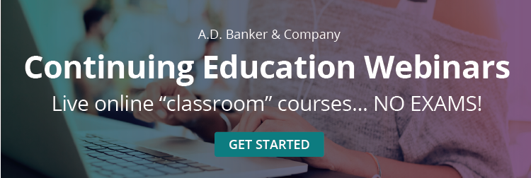 "Continuing Education Webinars: Live online ""classroom"" courses... NO EXAMS!"
