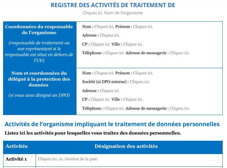 Modèle registre des activités
