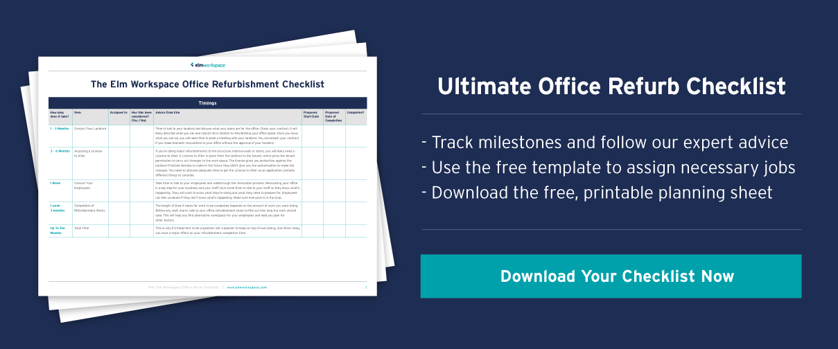 Call to action to download office refurbishment checklist