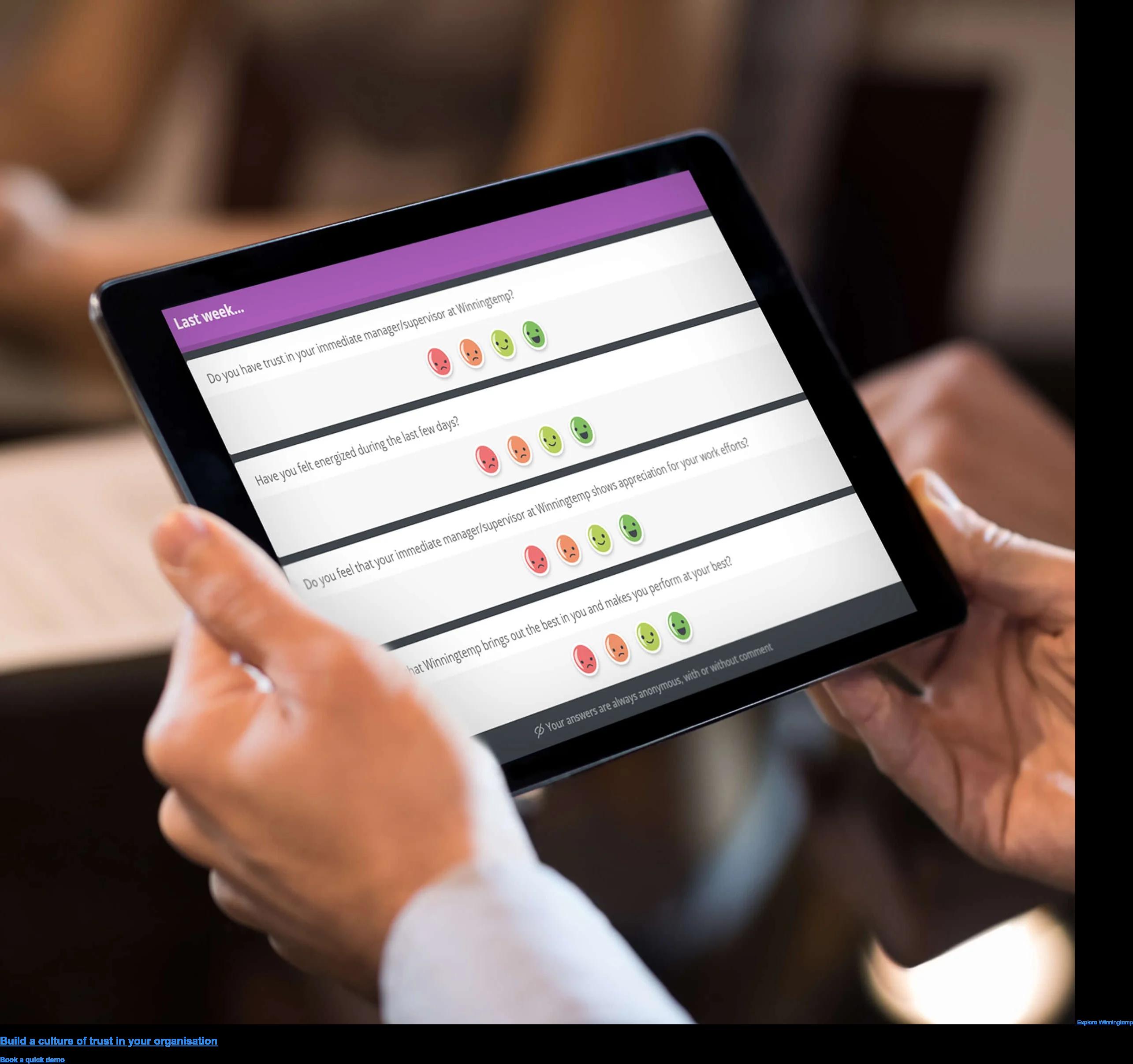 Explore Winningtemp Level up trust through engagement Book a quick demo