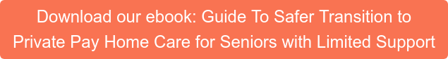 Download our ebook: Guide To Safer Transition to  Private Pay Home Care for Seniors with Limited Support