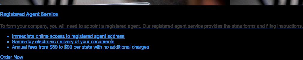 Order Registered Agent Service Order Online
