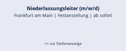 Niederlassungsleiter (m/w/d)  Frankfurt am Main   Festanstellung   ab sofort    >> zur Stellenanzeige