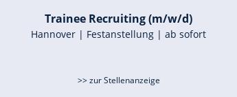 Trainee Recruiting (m/w/d)  Hannover | Festanstellung | ab sofort   >> zur Stellenanzeige