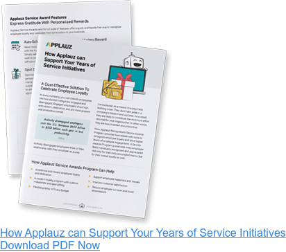 Wondering how Applauz can support your years of service initiatives? - Download PDF Guide