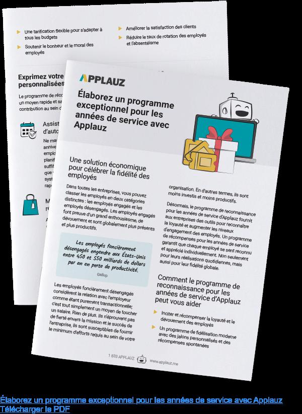 Élaborez un programme exceptionnel pour les années de service avec Applauz Télécharger le PDF