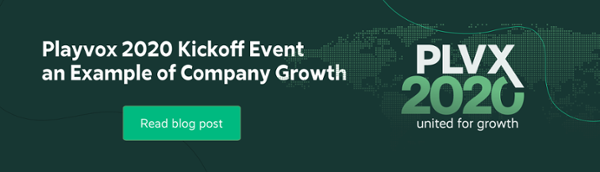 Playvox 2020 Kickoff event and example of company growth