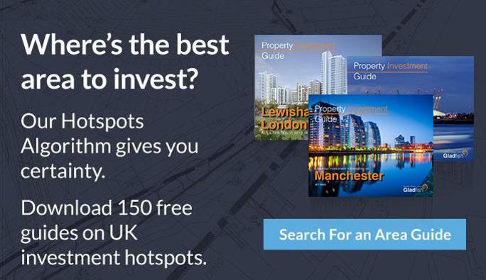 search for property investment guide advert with spread of guide images