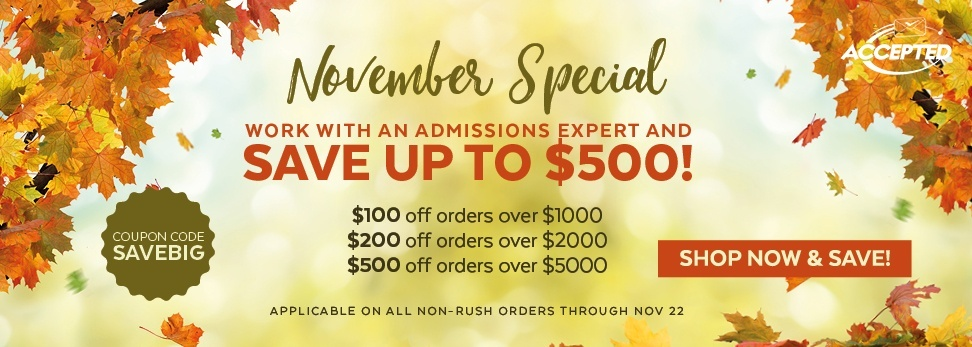November Special: Shop Now & Save on Admissions Services!