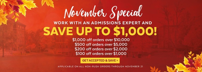 Save up to $1,000 on all admissions services! Shop now >>
