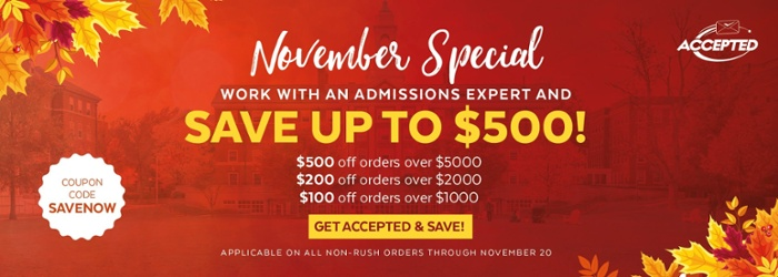 Save up to $500 on grad school admissions services! Shop now >>