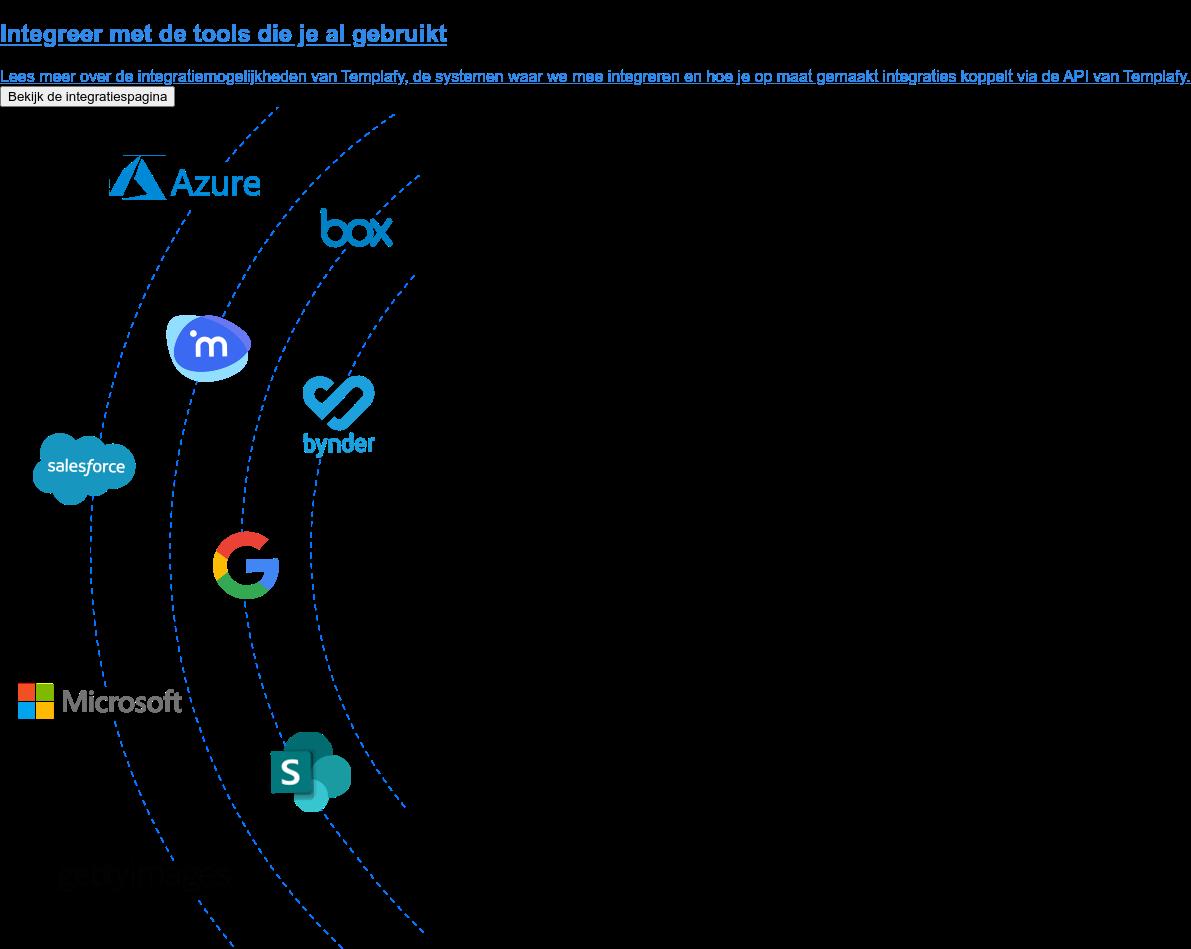 Integreer met de tools die je al gebruikt  Lees meer over de integratiemogelijkheden van Templafy, de systemen waar we  mee integreren en hoe je op maat gemaakt integraties koppelt via de API van  Templafy. Bekijk de integratiespagina