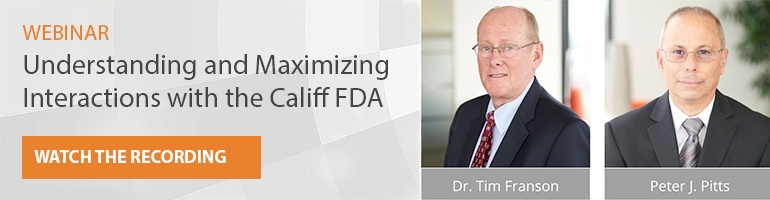 webinar understanding and maximizing the Califf FDA watch the recording Franson Pitts headshots