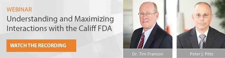 webinar understanding and maximizing the Califf FDA watch the recording Franson Pitts headshots