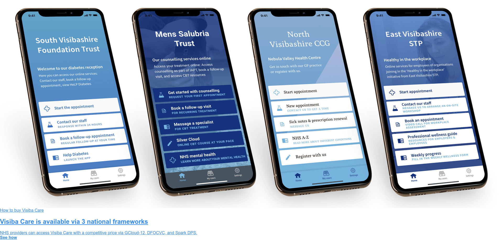 How to buy Visiba Care Visiba Care is available via 3 national frameworks NHS providers can access Visiba Care with a competitive price via GCloud-12, DFOCVC, and Spark DPS. See how