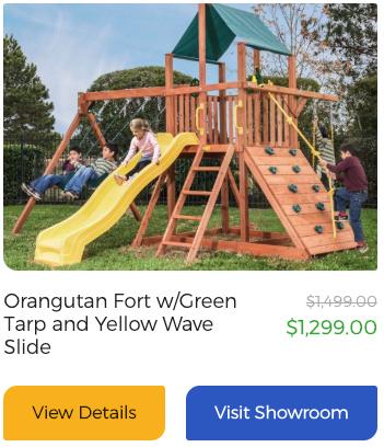 Orangutan Fort w/Green Tarp and Yellow Wave Slide