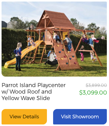 Parrot Island Playcenter w/Wood Roof and Yellow Wave Slide