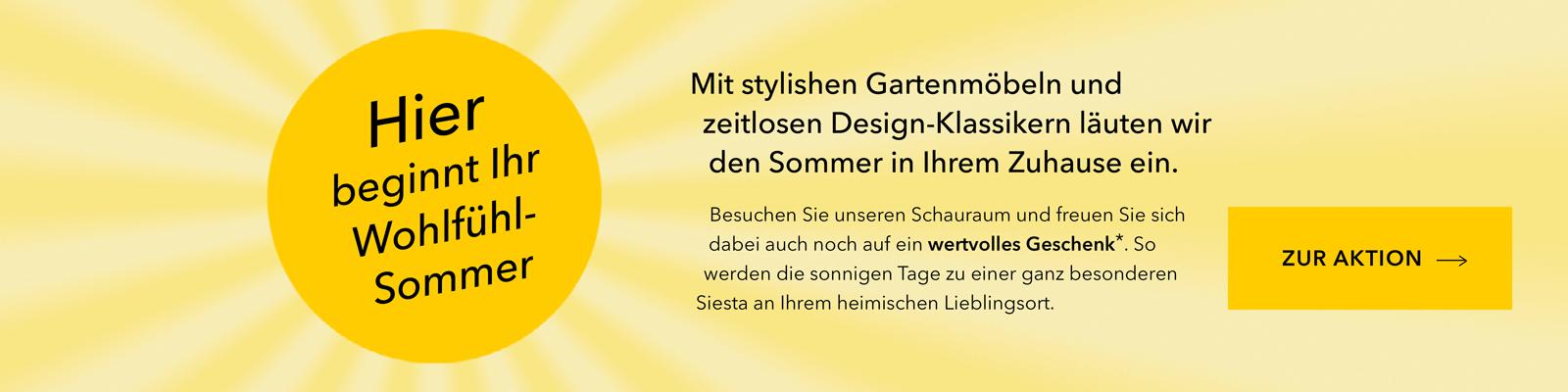 Abstrakte Sonne Text zur Bewerbung von Gartenmöbeln