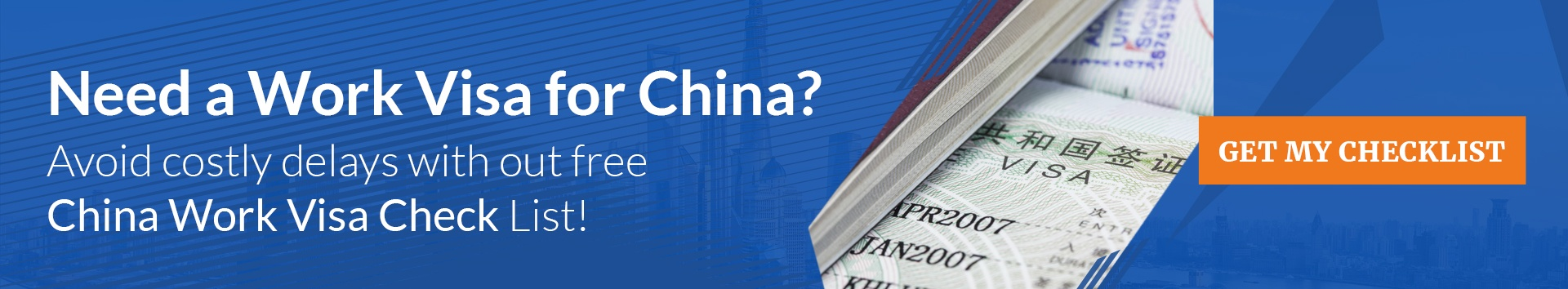 Get ahead with your China  work visa application. Dowload the document  checklist here.