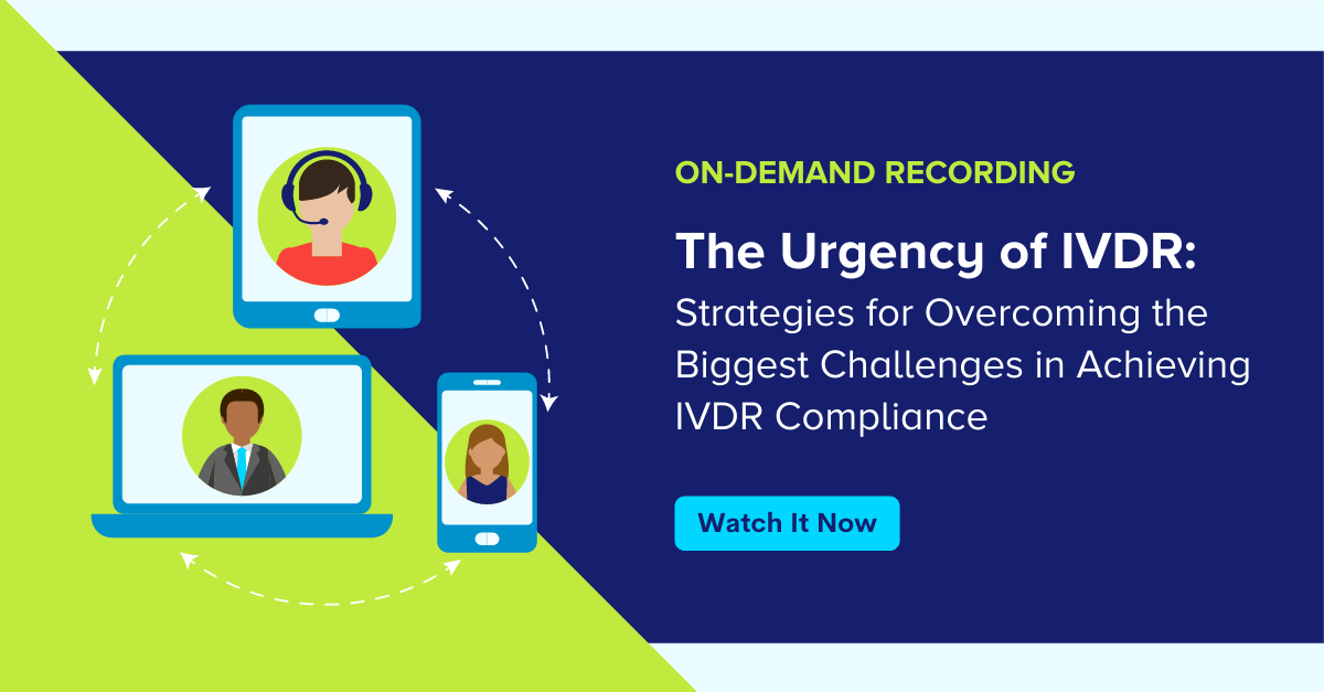 Sign up to watch the on-demand IVDR Webinar: Strategies for overcoming the biggest challneges in achieving IVDR compliance, featuring Illustration of people watching a webinar on different devices