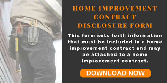 Home Improvement Contract Disclosure Form