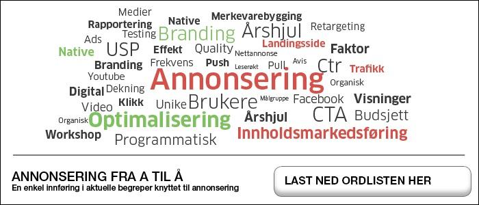 ordliste annonsering