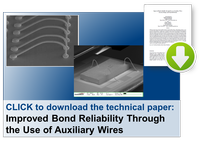Improved wire bond reliability, auxiliary wires, wire bonding