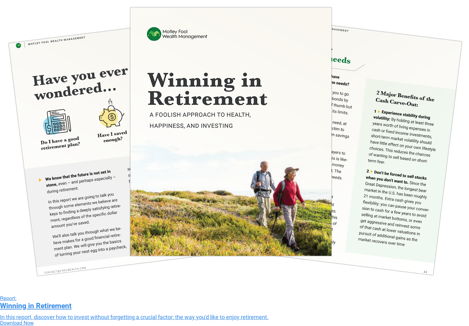 Report:  Winning in Retirement  In this report, discover how to invest without forgetting a crucial factor:  the way you'd like to enjoy retirement. Download Now