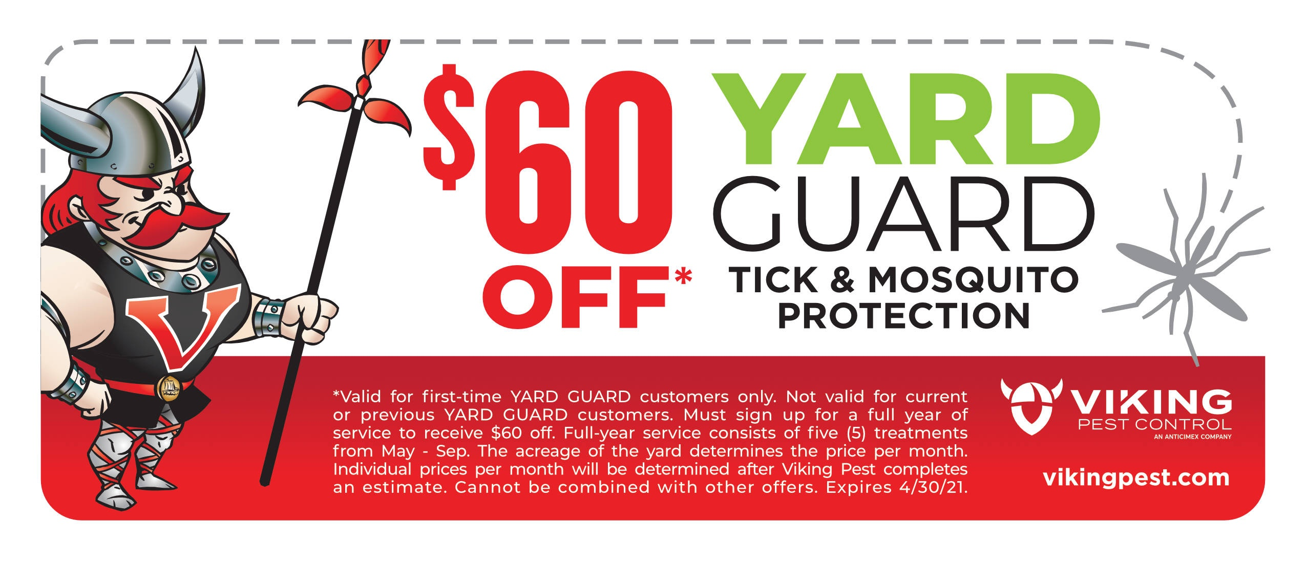 $60 off mosquito and tick control service