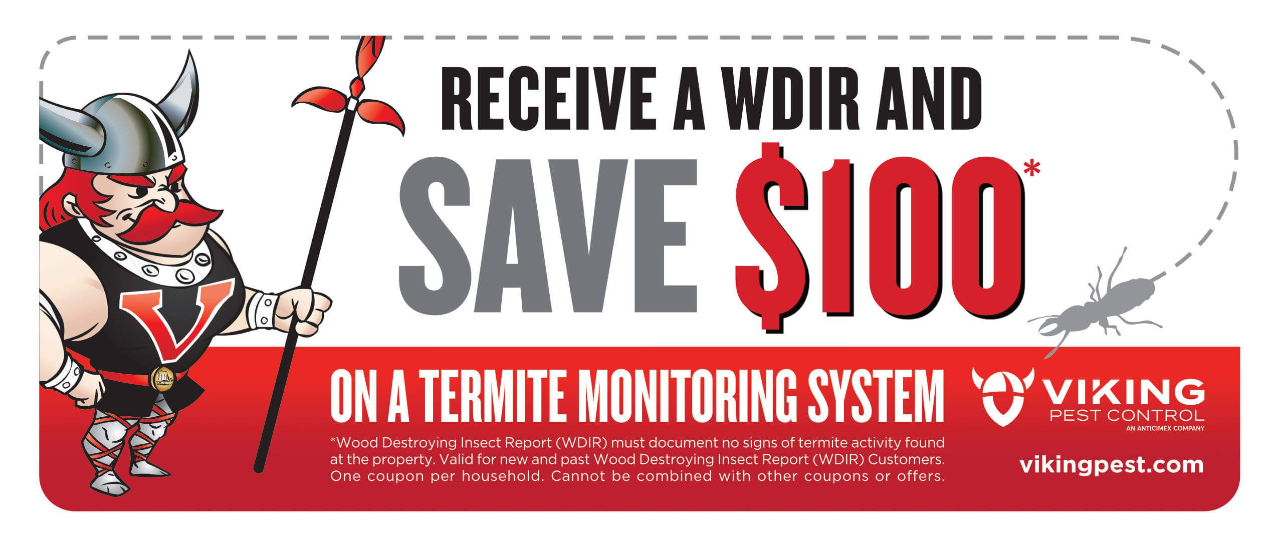 Save $100 on a Termite Monitoring System with the Purchase of a WDIR