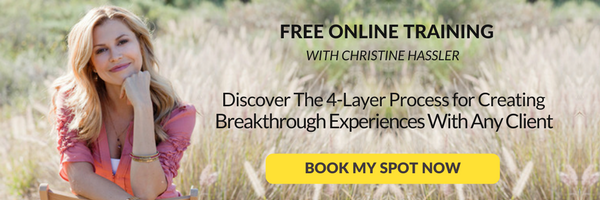 Free online training with Christine Hassler to discover the 4-layer process for creating breakthrough experiences with any client