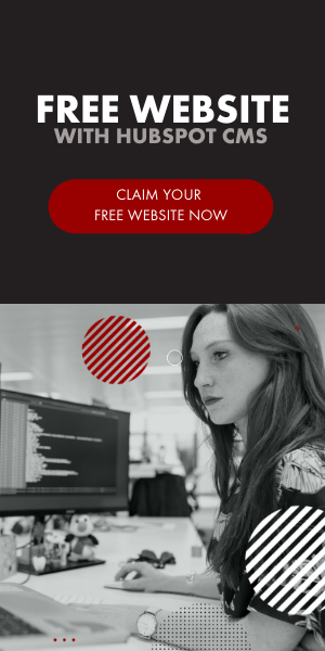 Photo offering free website with purchase of HubSpot CMS