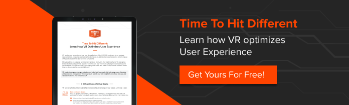 Grey and orange banner to download free infographic on how VR can optimize user experience
