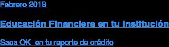 Enero2019  Educación Financiera en tu Institución  Saca OK en tu reporte de crédito
