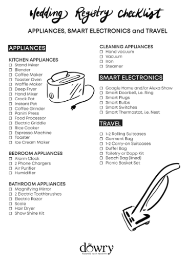 Wedding Registry Checklist: Appliances, Electronics & Travel