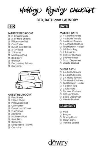 Wedding Registry Checklist: Bed, Bath & Laundry