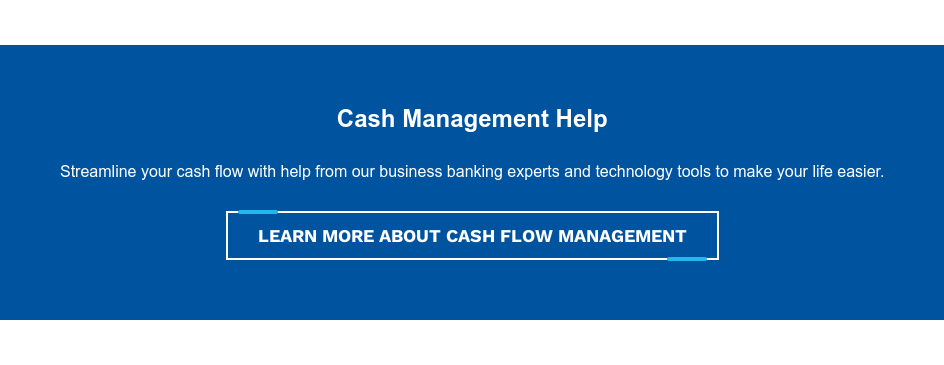 Cash Management Help  Streamline your cash flow with help from our business banking experts and  technology tools to make your life easier. Contact Us About Cash Flow Management