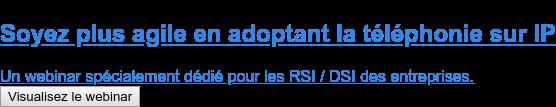 Soyez plus agile en adoptant la téléphonie sur IP  Un webinar spécialement dédié pour les RSI / DSI des entreprises. Visualisez le webinar