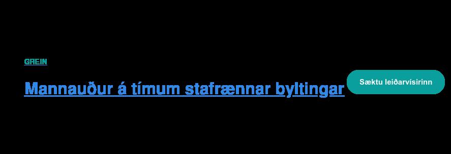 Leiðarvísir  Mannauður á tímum stafrænnar byltingar   <https://cta-redirect.hubspot.com/cta/redirect/6348411/dd1e1b42-035d-46ef-b174-1c4b08d2f3e9>
