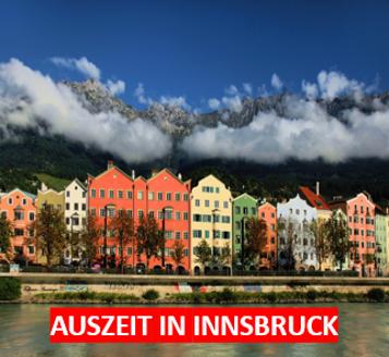 Haeuserfront und Berg Innsbruck