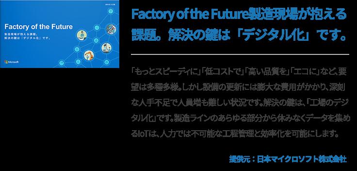 Factory of the Future製造現場が抱える課題。解決の鍵は「デジタル化」です。