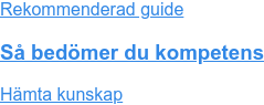 Rekommenderad guide  Så bedömer du kompetens Hämta kunskap