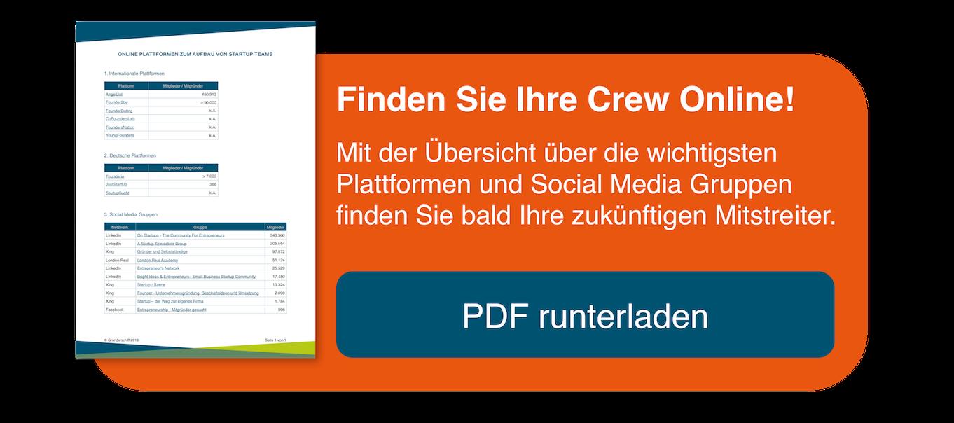 PDF Übersicht zum Finden von Mitgründern auf Online-Plattformen