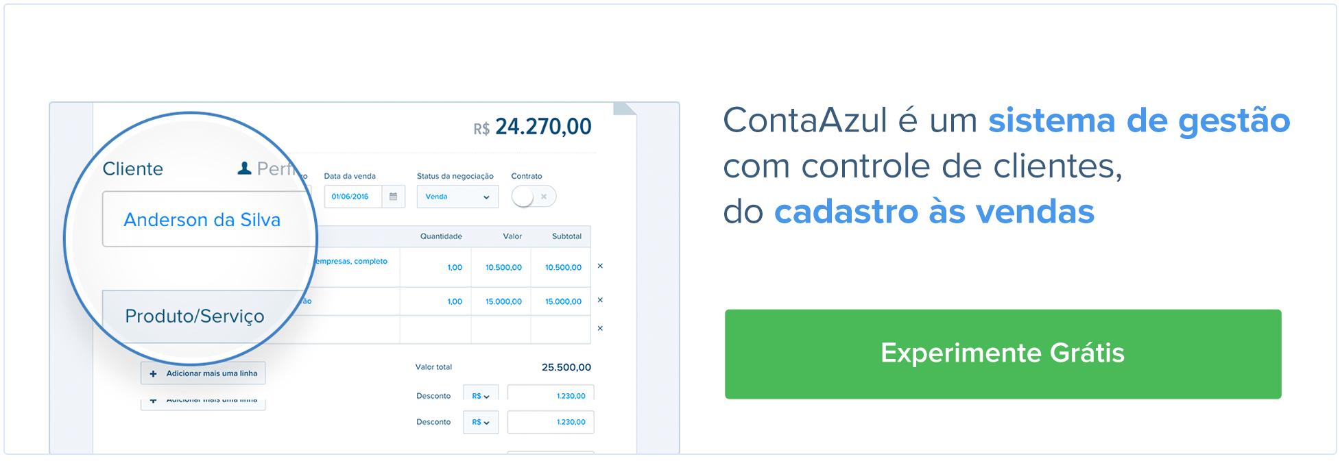 ContaAzul é um sistema de gestão com controle de clientes, do cadastro às vendas