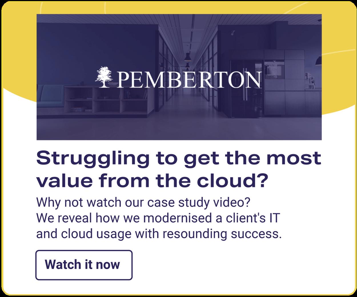 CTA for video case study for Pemberton